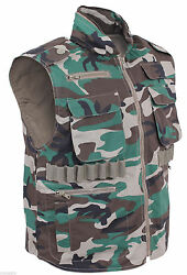 Mens Rothco Woodland Camo Tactical Hunting Fishing Renger Vest Size S To 3x