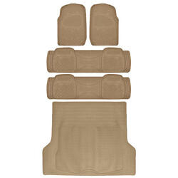 All Weather Rugged Beige Non-slip Trimmable Suv Van Floor Mat And Cargo 5 Pcs
