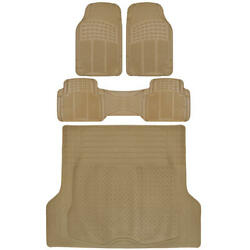 Suv Car Floor Mat 4 Pc Rubber All Weather Hd Front Rear And Truck Cargo Beige