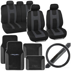 Rome Sport 14 Pc Set - 2 Tone Black / Charcoal Seat Cover, Mat And Steering Cover