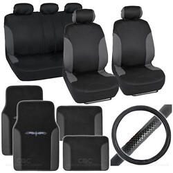 Bucatti 14 Pc Set - 2 Tone Black / Charcoal Car Seat Cover, Mat And Steering Cover