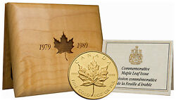Canada 1989 Maple Leaf 1 Oz Proof Gold With Coa And Box