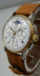 Baume And Mercier 18k/ss Moonphase Chronograph Unisex Watch With Date 6102.099