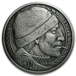 Hobo Nickel Series The Fisherman 5 oz .999 Silver Antiqued Finish Round USA Coin