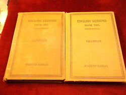 Pair Of Antique 1919-1925 Books State Of Kansas English Lessons 1 And 2 Grammar