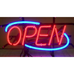 Neon Open Sign Window Or Wall Hand Blown Glass Metal Grid Strong Transformer