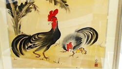 Antique Japanese Brush And Watercolor On Paper Of A Roosterandchicken,sign And Seal