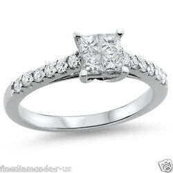 1.00ct Princess And Round Cut Diamonds Engagement Ring In 18k White And Yellow Gold