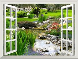 Wall Mural - Clear Spring And Green Grass Out Of The Open Window - 36x48