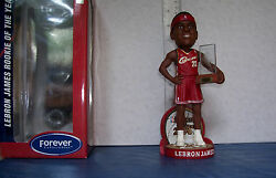 2004 Lebron James Red Jersey Rookie Of The Year Award Bobblehead Cavaliers Mint