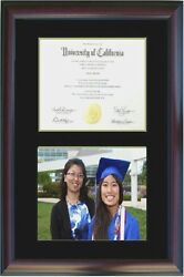Double Diploma Photo Picture Frame Cherry Black Gift Mixed Size Honors Tp520