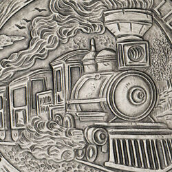 Hobo Nickel Series The Train 5 oz .999 Silver Antiqued Finish Round USA Coin