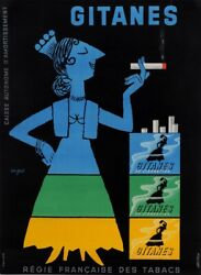 Original Vintage Small French Poster For Gitanes Cigarettes By Savignac 1953
