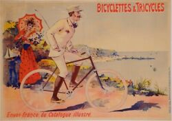 Original Vintage French Transporatation Poster Bicycelettes And Tricycles By Oge
