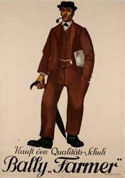 Original Vintage Swiss Poster For Farmer Shoes By Bally