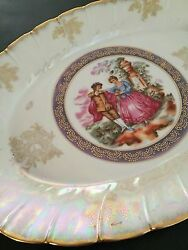 Victorian China Colonial Couple Dining Serving Oval Plate - Made In Japan