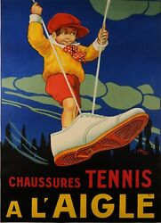 Original Vintage French Poster A L'aigle Tennis Shoes By Aly 1923