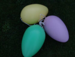 Vntg Large Lighted Easter Eggs Blow Mold Multi Color Set Of 3 Your Choice