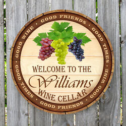 Wine Lid Welcome To Wine Cellar Personalized Round Metal Sign Monogrammed