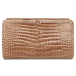 8562 auth GUCCI beige brown CROCODILE leather Clutch Bag VINTAGE 1970s
