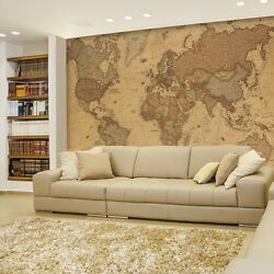 Wall26andreg - Antique Monochrome Vintage Political World Map - Wall Mural- 100x144