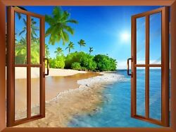 Palm Tree on the Beach and Clear Sea View from inside a Window Wall Mural 24x32 $22.17
