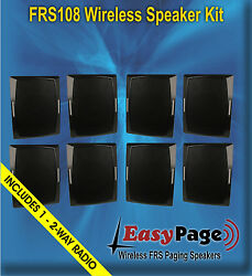 Easypage Wireless Frs Band Paging Speaker Kit - 8 Spkrs And 1 Free 2-way Radio
