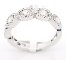 Chic 18k White Gold Vs2-si1g-h0.70 Ct Oval Halo Diamonds Engagement Ring6.25