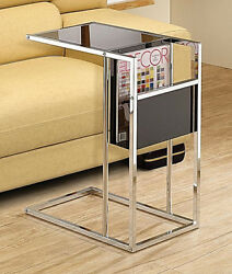 Black And Chrome Chairside Accent Table With A Built-in Side Magazine Rack.