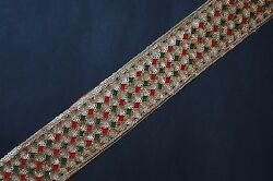 Jasdee Vintage Border Trim 2quot; Width Hand Work Sequins Embroidery By Yard #A1255