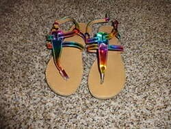 Nordstrom Rack Toddler Girls Sz 12 Rainbow Colored Sandals Shoes