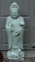Antique 19c Chinese Extra Large Hard Stone Carved Quan-yin Statue 36h