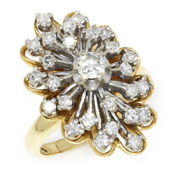Vintage Diamond Cluster Ring With Single Cuts 14k Two Tone Gold 1.25ctw