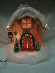 Large Fiber Optic Christmas House W/snowman/candy Canes/ Trees