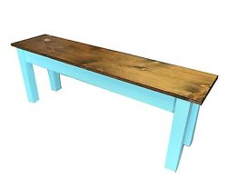Vintage Blue Farmhouse Bench Rustic / Dinning / Entryway / Mudroom Foyer Bench