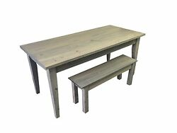 Grey Farmhouse Table With Tapered Legs Rustic Harvest Farmhouse Kitchen Dinning