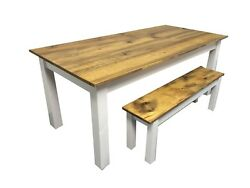 Barn Wood And White Farm Table Rustic Harvest Farmhouse Kitchen Dinning Table