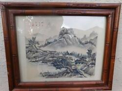 FABULOUS VINTAGE CHINESE SCROLL PAINTING OF A VILLAGE