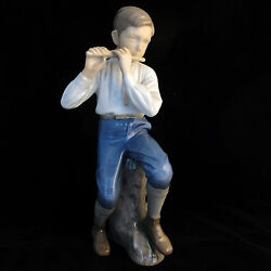 Boy Playing Flute Bing And Grondahl New Never Sold 4.5 Tall 1899 Made In Denmark