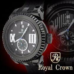 Royal Crown 6415 Black Men's Wrist Watch 46mm Stainless Steel Case Silicon Band