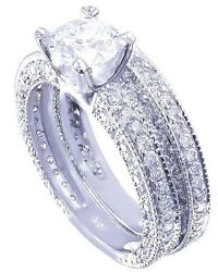 14k Round Cut Diamond Engagement Ring And Band Antique Style Prong Pave 2.05ct