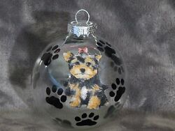 HAND MADE YORKSHIRE TERRIER GLASS CHRISTMAS ORNAMENT  BALL