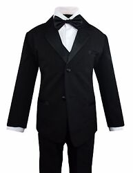 Formal Toddler Boys Tuxedo 5 pieces Set with Satin Vest and Bow Tie Size 2T-14