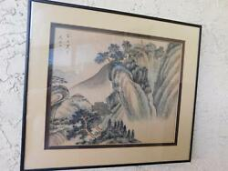 GORGEOUS VINTAGE CHINESE SCROLL PAINTING OF A VILLAGE SIGNED