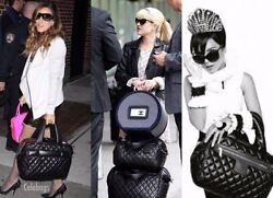 Chanel 07 Quilted Black Caviar Leather XLarge Duffel Carry On Bag +Clutch NWT