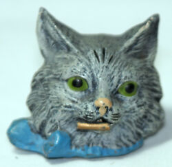 Rare Antique C1800and039s Figural Metal Kitten Cat Wind-up Sewing Tape Measure
