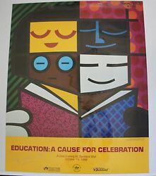 Romero Britto Poster Education A Cause For Celeb  Hand Signed By R. Britto