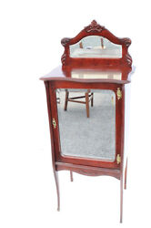 Darling American Victorian Mahogany Sheet Music Storage Cabinet With Mirror