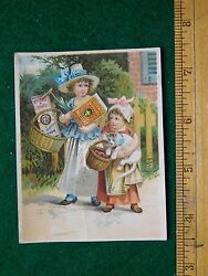 1870s-80s Stickney And Poor's Mustards Spices And Extracts Girls With Boxes Card F23