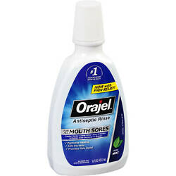 Orajel Antiseptic Rinse For All Mouth Sores - 16 Ounce (Pack Of 3)